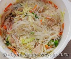 рецепт фунчозы с мясом и овощами